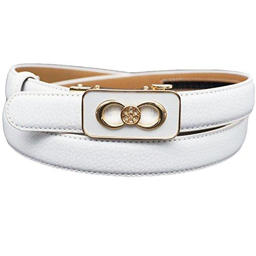 Replica Leather Belts - Soft Direct Women's Leather Belt for Pants Dress Jeans Sliding Buckle 24mm Women Ratchet Belt Style 3 White