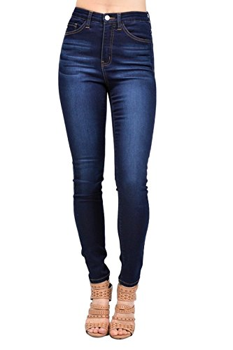 Kan Can Womens Super High Rise Super Skinny Jeans, Dark Wash, 9