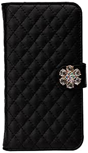Left and right casement corresponding general-purpose book type case (with motif / quilt / Black)