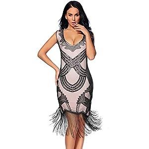 Women's 1920s Gatsby Dress V Neck Sequin Bead Fringed Cocktail Hem Flapper Dress