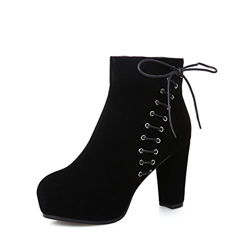 1TO9 Womens Bandage Chunky Heels Platform Frosted Boots