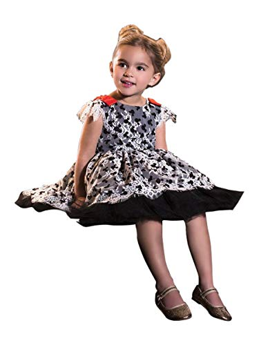 Disney Collection by Tutu Couture Minnie Mouse Printed Lace Romantic Tutu Dress (5) Black (Couture Kids Disney)