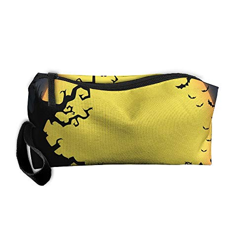 WEEDKEYCAT Halloween Owl Tree Pumpkin Travel Cosmetic Bag
