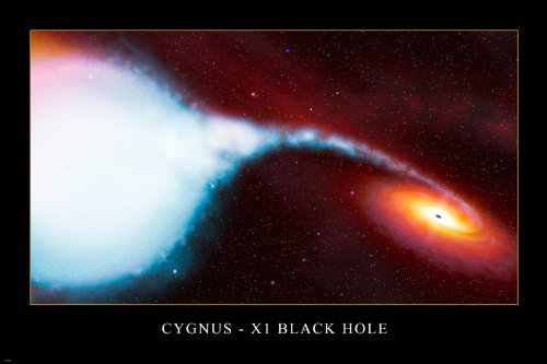 Cygnus-X1 Black Hole Hubble Space Image Poster Amazing Spiral Red Stars