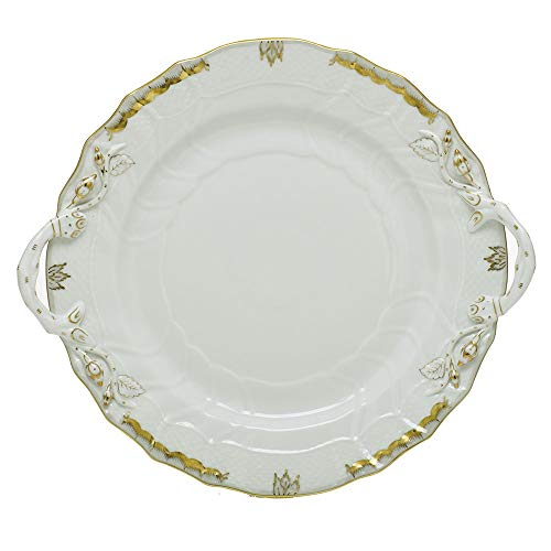 Herend Princess Victoria Gray Porcelain Chop Plate with Handles