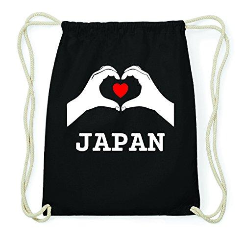 JOllify JAPAN Hipster Turnbeutel Tasche Rucksack aus Baumwolle - Farbe: schwarz Design: Hände Herz