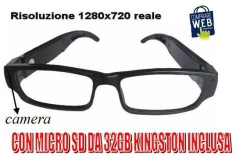 Occhiali Vista Spia Con Telecamera Hd + Micro Sd 16gb 1280x720 Spy Telecamera Occultata Spia Microcamera Cw31 PvIbr