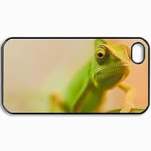 Personalized Protective Hardshell Back Hardcover For iPhone 4/4S, Green Chameleon Design Design In Black Case Color