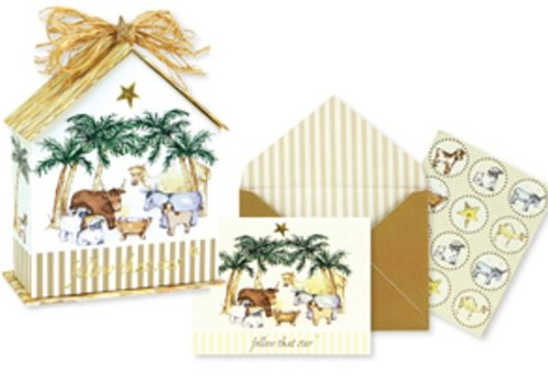 CR Gibson Birdhouse Christmas Boxed Cards, Follow That Star, 10 Count - Gibson Christmas Star