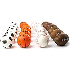 "Set of 24 Sports 2.5"" Stress Balls - Includes Soccer Ball, Basketball, Football, Baseball Squeeze Balls For Stress Relief, Party Favors, Ball Games and Prizes, Stocking Stuffers - Bulk 2 Dozen Balls"