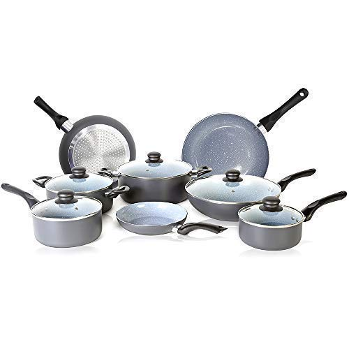 13 Piece Non Stick Coated Cookware Set with Induction base & Oven Safe Pots and Pans Cookware set Frying Pan, Saucepan, Steamer, Wok and Sauce pot with Detachable Handle & Vented Glass Lid