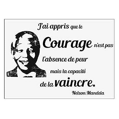 Paris Prix Sticker Mural Citation Mandela 50x70cm Noir Et