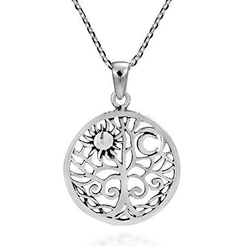 AeraVida Sunshine and Moon Celtic Swirl Tree of Life .925 Sterling Silver Pendant Necklace