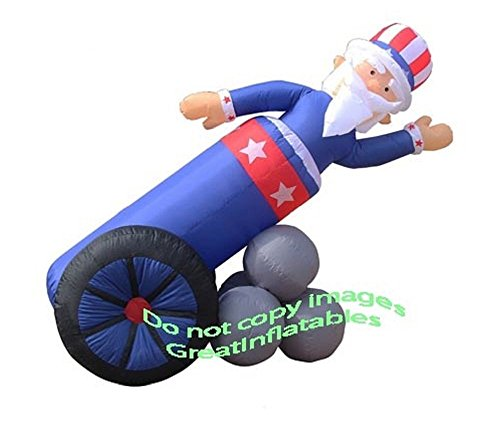 Gemmy Airblown Inflatable Uncle Sam Coming Out of Cannon - Patriotic Independence Day Yard Decoration, 6 ½-foot Wide x 5-foot Tall