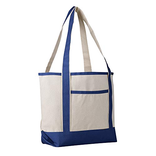 12 Pack - Heavy Duty Canvas Deluxe Tote Bags BULK Wholesale tote bags Canvas bags Lot Cheap Tote Bags Customizable Reusable Grocery Shopping Tote Bags Medium Size Boat Craft Tote Bags (Royal)