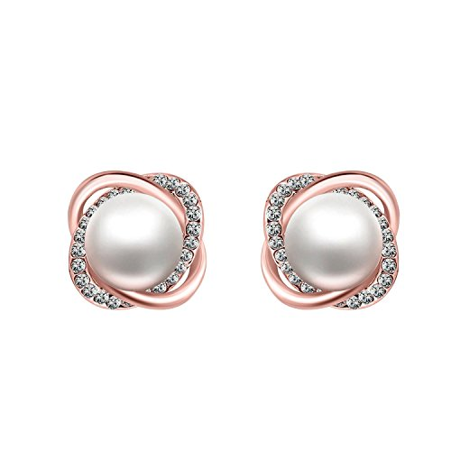 18K Rose Gold Simulated Pearl Earrings White CZ Diamond Crystal Twist Love Knot Studs Earring for Women Teen Girls Jewelry (Rose ()