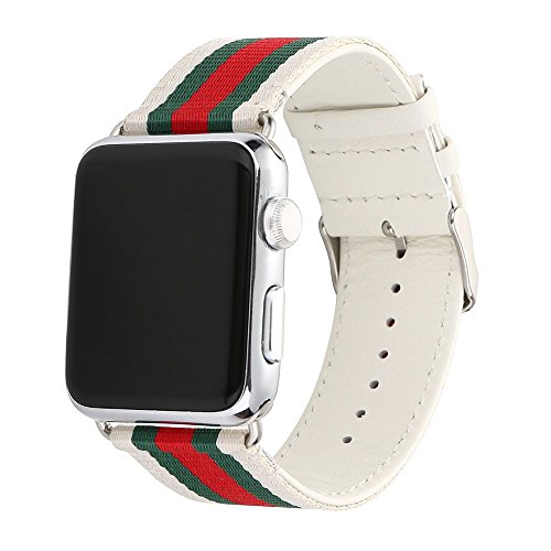 HUANLONG V-0002 Apple Watch Band, Nylon with Genuine Leather Sport Replacement Strap Wrist Band with Metal Adapter Clasp - 42mm - Red/Green/White