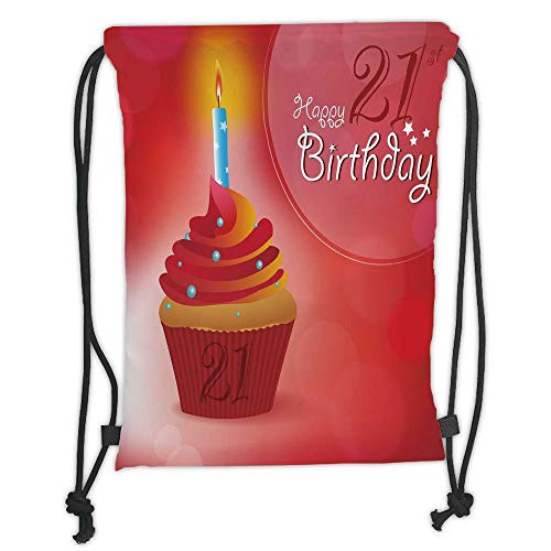 New Fashion Gym Drawstring Backpacks Bags,21st Birthday Decorations,Abstract Sun Beams Backdrop Party Cupcake with Frosting Image,Red and Orange Soft Satin,Adjustable String Closu ()