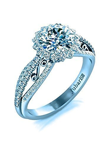 1.35Ctw Round Halo Diamond Engagement Ring Custom Triple Split Shank Classic Scrolls White Gold 14K Jubariss Custom Handmade - Pave Scroll