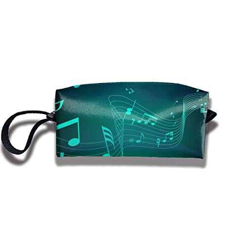 Cosmetic Bags With Zipper Makeup Bag Music Notation-Music-Wallpaper-HD-1080p-42 Middle Wallet Hangbag Wristlet Holder]()