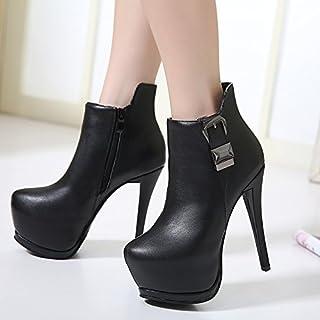 ZHZNVX Dicke Damen starten mit dem neuen Ultra-thin mit kurzen Stiefeln wasserdichte Einzelne Schnalle dicken blanken Stiefel Damen Stiefel