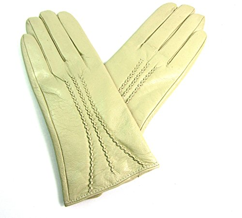 Slim Fit Cream - The Leather Emporium Women's Gloves Fur Lined Stripe Detail Slim Fit (Small, Cream)