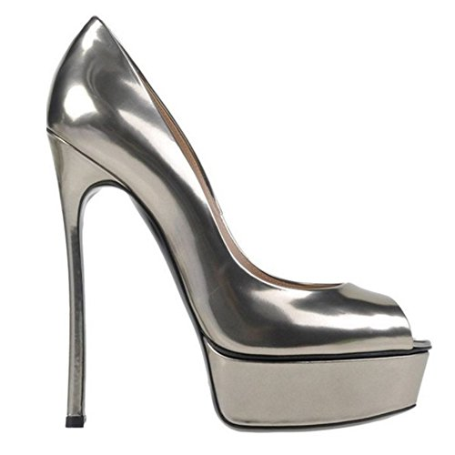 Tacon TAOFFEN Plata Zapatos Alto Peep Toe Sin Cordones Sandalias Aiguille Mujer Elegante 6wqPYO6