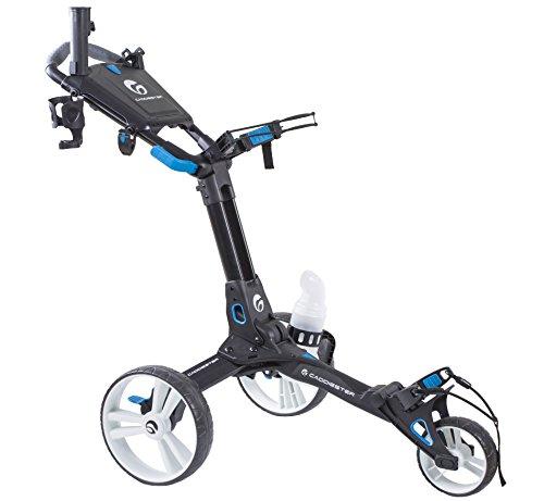(Caddiester X1-EP Quick-Fold Deluxe 3 Wheels Golf Push Cart (Black))