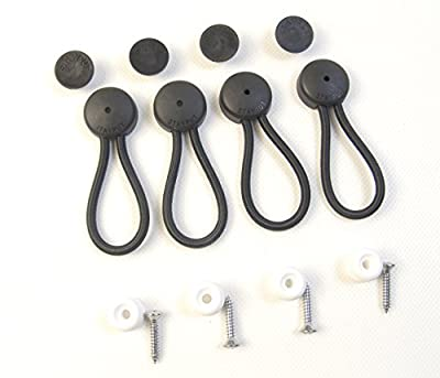 Stayput Bungee / Shock Cord Fastener's, Black with White Surface Attachment, 4 Pcs