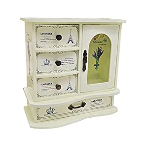 Abestest European Wooden Jewelery Box Cabinet with 4 Pullout Earrings Drawers and A Girl's Necklace Storage Case