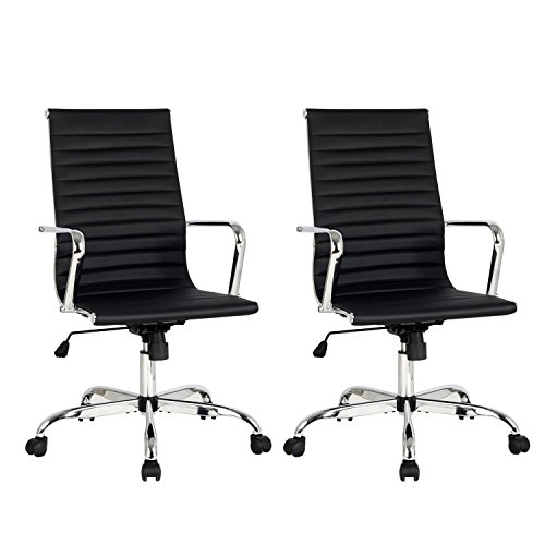 High Back Black Ribbed Upholstered Leather Executive Swivel Conference Chair, Tilt Adjustable Office Chair, Arm Rest Computer Chair, Set of 2, Black