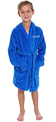 Personalized Customized Kids Solid Hooded Coral Velvet Bathrobe with Pockets