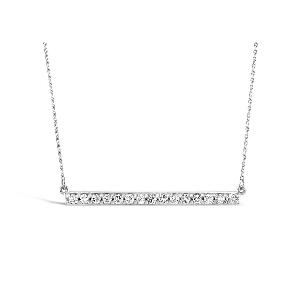 Brilliant Expressions 10K White Gold Horizontal Bar 1/4 Cttw Conflict Free Diamond Pendant Necklace (I-J Color, I2-I3 Clarity), 16 inch