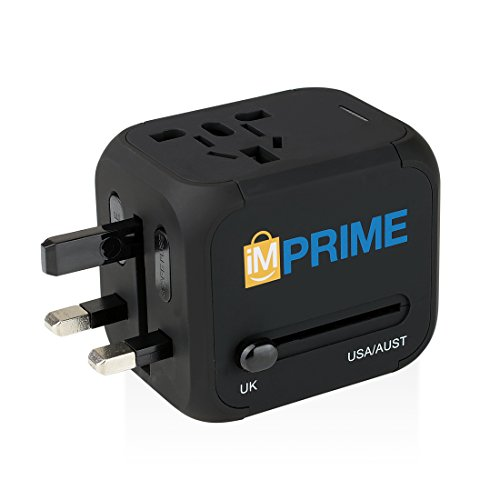 International Travel Power Adapter Converter and Charger with 2.4A Dual USB Charger & Worldwide AC Wall Outlet Plugs for UK, US, AU, Europe & Asia - - Outlet Premium International
