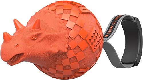 GiGwi 6462 Hundespielzeug Push-to-Mute Dinoball Triceratops mit oder ohne Quietscher, aus Gummi, Apportierspielzeug, orange