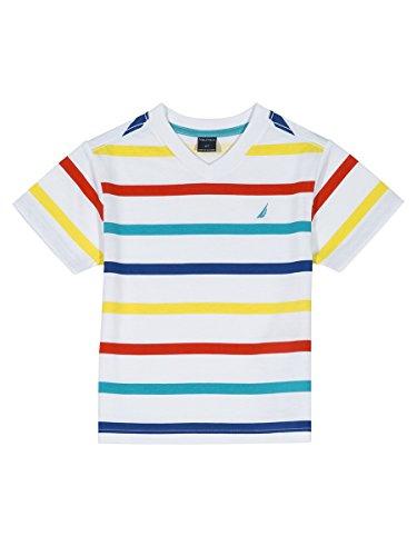 Nautica Boys' Big Short Sleeve Striped V-Neck T-Shirt, Justin White, Medium (10/12)
