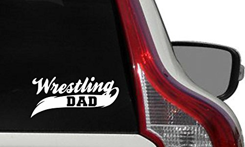 (Dad Wrestling Banner Car Vinyl Sticker Decal Bumper Sticker for Auto Cars Trucks Windshield Custom Walls Windows Ipad Macbook Laptop Home and More (WHITE))