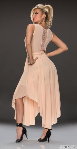 in 4 verfügbar Kleid Fashion4Young 5868 Apricot Abendkleid Farben Cocktail aus 2Gr Chiffon ärmelloses Damen wz4aZq
