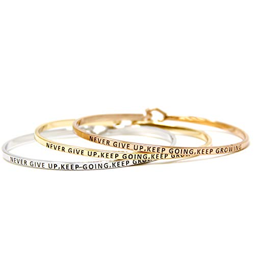by you Inspirational Positive Quote Message Engraved Thin Cuff Bangle Hook Bracelet