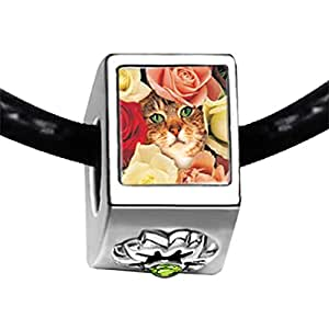 Chicforest Silver Plated Cat Bouquet Photo Peridot Crystal August Birthstone Flower Charm Beads Fit Pandora Chamilia Biagi Charm Bracelet