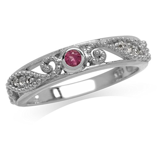 Natural Pink Tourmaline & White Topaz Gold Plated 925 Sterling Silver Filigree Ring Size 7