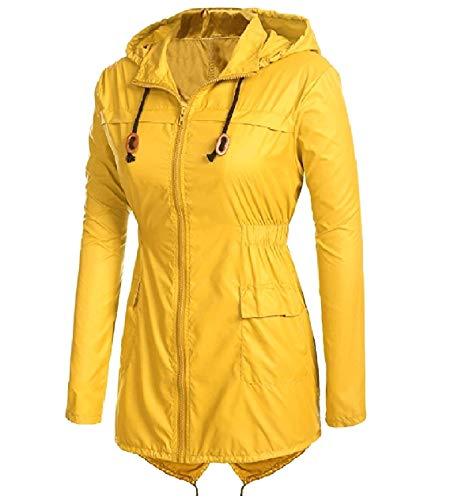 XINHEO Womens Waterproof Raincoat Longline Light Weight Anorak Jacket Yellow