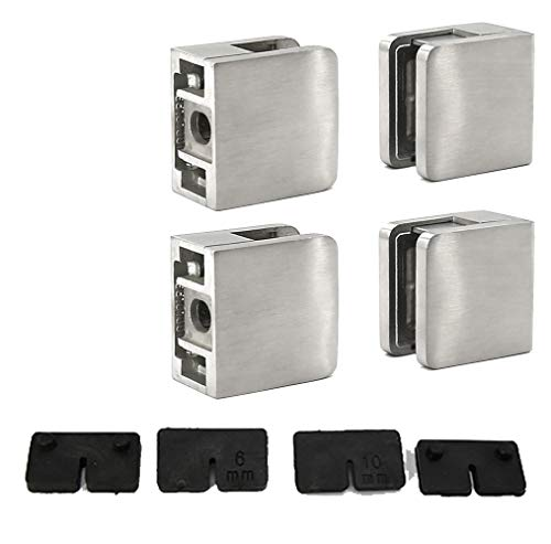 "Stainless Steel 316 Grade Square Flat Back Glass Clamp 45 x 45 mm for 3/8"" - 1/4"" Tempered Glass or Laminated Glass, Satin Finish, 4-Pack (GC-045S)"