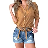 Women's Summer Half Sleeve Tops,Button Solid Shirt Loose Casual Tunic Tank Tops Yellow