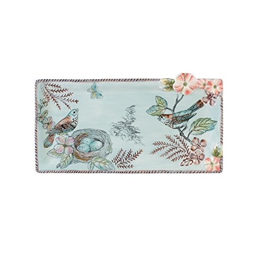 Fitz and Floyd 21-057 English Garden Ceramic Elongated Tray, Baby Blue