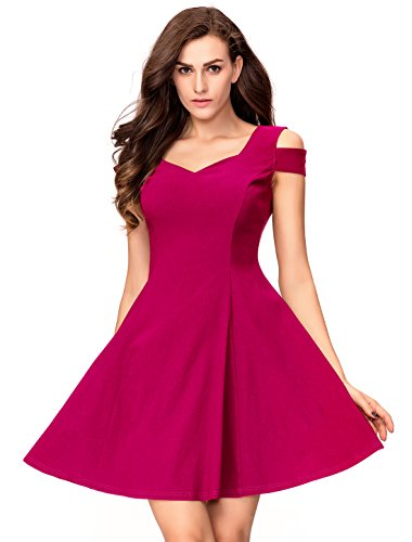 InsNova Women's Cold Shoulder Little Cocktail Party A-line Skater Dress (Large, Hot Pink)