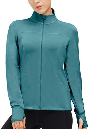 Women's Sports Running Jacket Slim Fit Lightweight Full Zip Yoga Workout Jackets Athletic Track Jacket