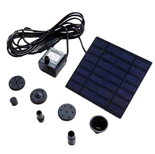 LAAT 1, 2 Watt Pompe à eau solaire Pompe à eau pour bassin Pompe submersible Fontaine de rocaille Puissance du panneau solaire avec ventouses