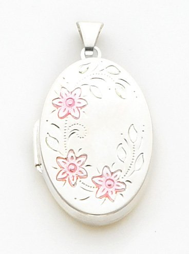 Quality Gold Pink Enameled Locket Oval Charm, Sterling Silver