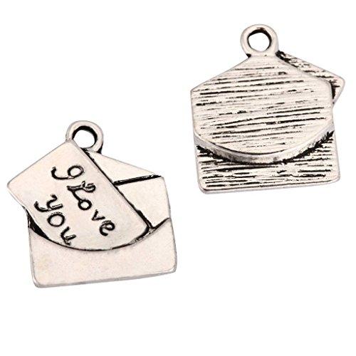(20 x Love Letter Charms 15mm Antique Silver Tone for Bracelets Necklaces Earrings #mcz1075)